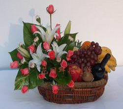 send flower&fruit basket to china