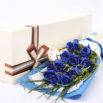 send 12 blue roses to china
